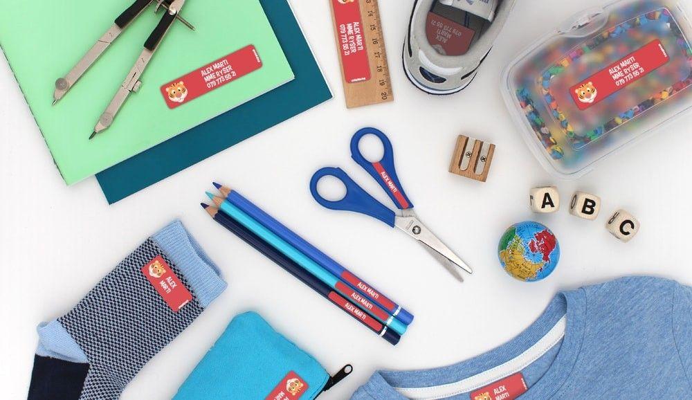 Pack avec étiquettes personnalisées pour l'école